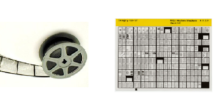 Microfilm microfiche - Picture of a microfilm roll and a sheet of microfiche