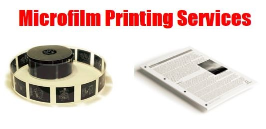 Microfilm Printing Services - Picture of a microfilm roll and the paper print from it